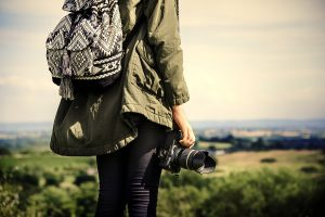 Female photographer in the nature
